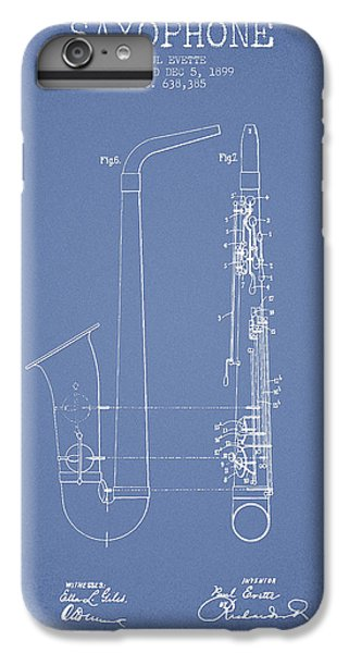 Saxophone Patent Drawing From 1899 - Light Blue IPhone 6 Plus Case by Aged Pixel