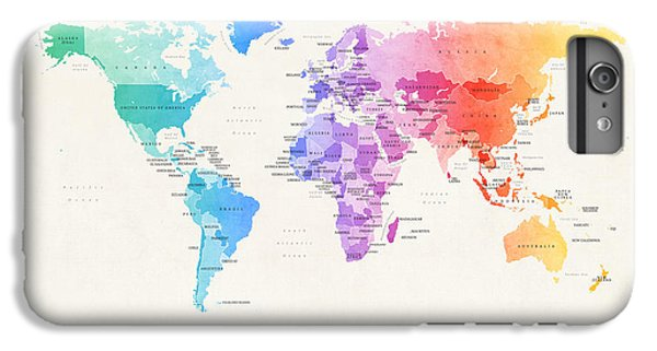 Planets iPhone 6 Plus Case - Watercolour Political Map Of The World by Michael Tompsett