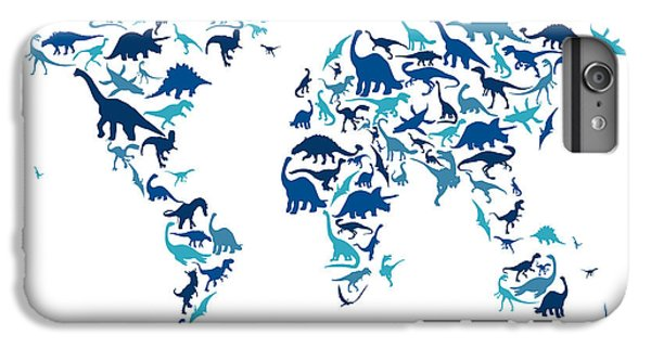 Dinosaur Map Of The World Map IPhone 6 Plus Case by Michael Tompsett