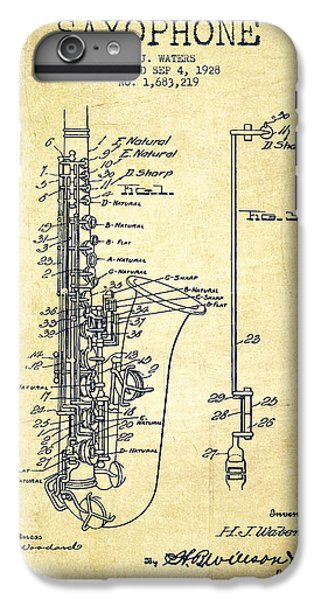 Saxophone iPhone 6 Plus Case - Saxophone Patent Drawing From 1928 by Aged Pixel