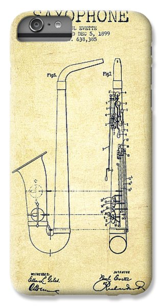 Saxophone iPhone 6 Plus Case - Saxophone Patent Drawing From 1899 - Vintage by Aged Pixel