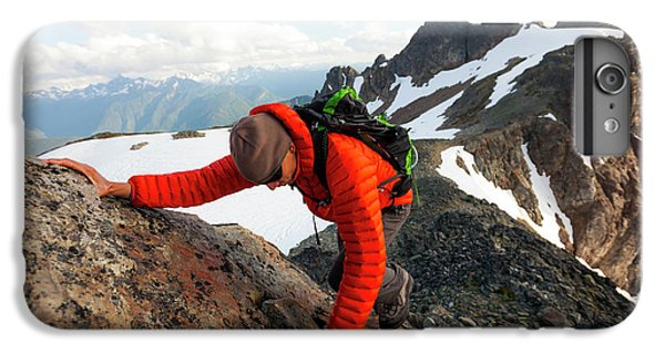 Knit Hat iPhone 6 Plus Case - A Climber Scrambles Up A Rocky Mountain by Christopher Kimmel
