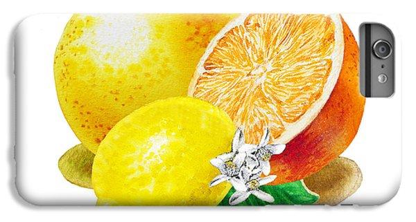 IPhone 6 Plus Case featuring the painting A Happy Citrus Bunch Grapefruit Lemon Orange by Irina Sztukowski