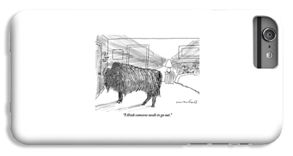 A Large Buffalo Stands Near The Door IPhone 6 Plus Case
