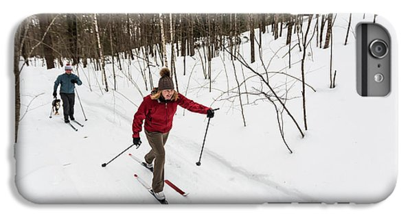 Knit Hat iPhone 6 Plus Case - A Man And Woman Cross Country Skiing by Jerry Monkman