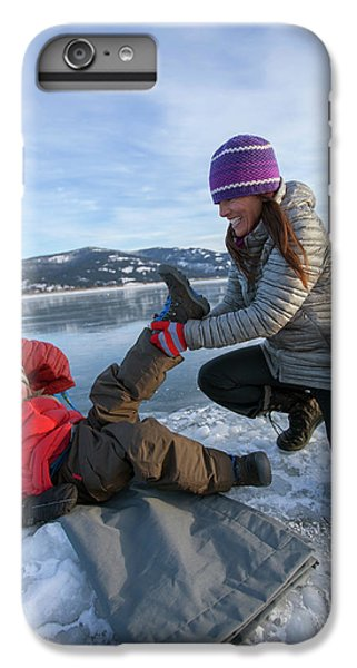 Knit Hat iPhone 6 Plus Case - A Mom Helping A Little Boy Get Ready by Woods Wheatcroft