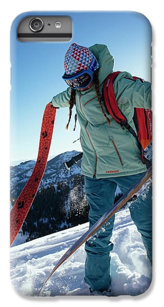 Knit Hat iPhone 6 Plus Case - A Woman Backcountry Skiing by Mike Schirf