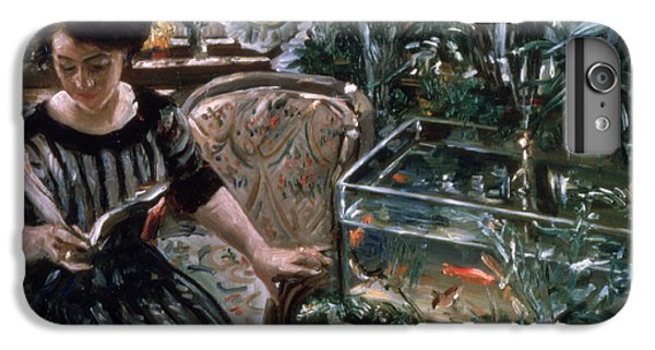 Goldfish iPhone 6 Plus Case - A Woman Reading Near A Goldfish Tank by Lovis Corinth