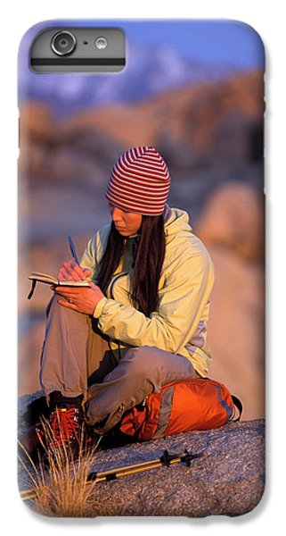Knit Hat iPhone 6 Plus Case - A Woman Sits And Writes In Her Journal by Corey Rich