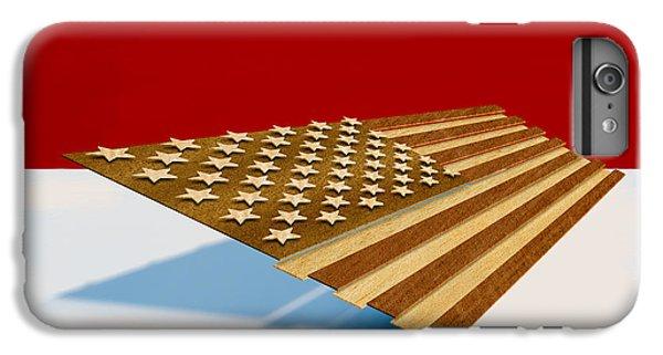 Folk Art iPhone 6 Plus Case - American Flag Wood by Yo Pedro