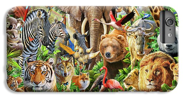 IPhone 6 Plus Case featuring the drawing Animal Mix by Adiran Chesterman