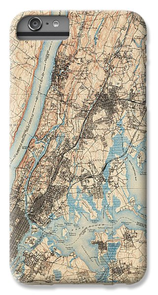 Harlem iPhone 6 Plus Case - Antique Map Of New York City - Usgs Topographic Map - 1900 by Blue Monocle