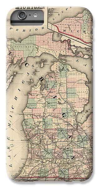 Antique Railroad Map Of Michigan By Colton And Co. - 1876 IPhone 6 Plus Case