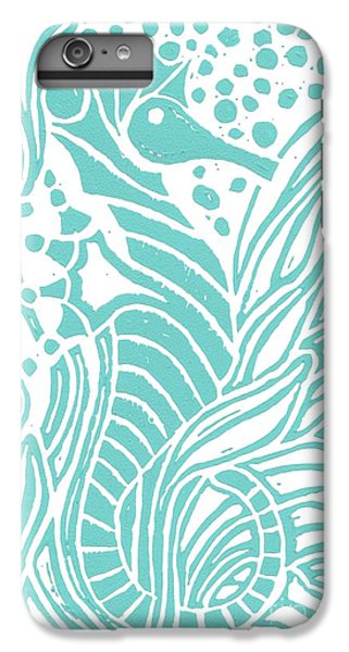 Aqua Seahorse IPhone 6 Plus Case by Stephanie Troxell