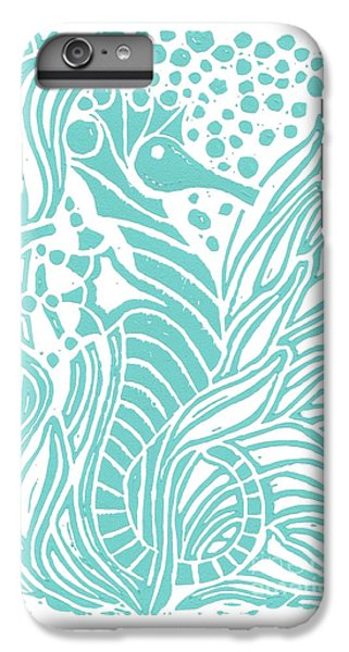 Aqua Seahorse IPhone 6 Plus Case by Stephanie Troxell