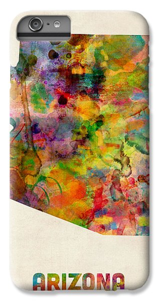 Arizona Watercolor Map IPhone 6 Plus Case by Michael Tompsett