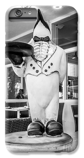 Art Deco Penguin Waiter South Beach Miami - Black And White IPhone 6 Plus Case by Ian Monk