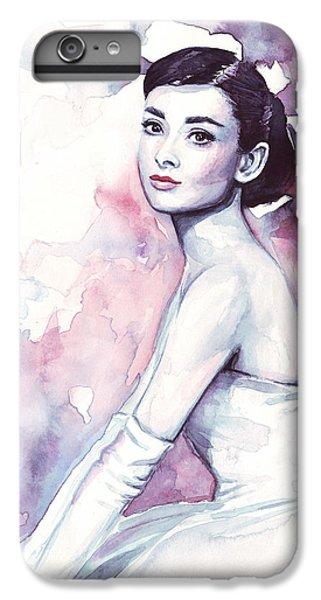 Audrey Hepburn Purple Watercolor Portrait IPhone 6 Plus Case by Olga Shvartsur