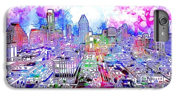 Austin Texas Watercolor Panorama IPhone 6 Plus Case