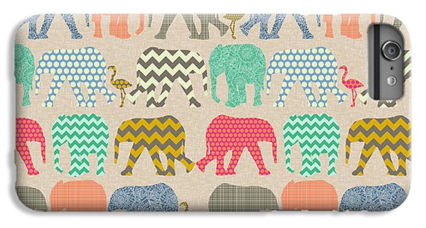 Baby Elephants And Flamingos Linen IPhone 6 Plus Case by Sharon Turner