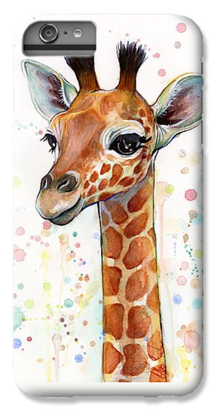 Mammals iPhone 6 Plus Case - Baby Giraffe Watercolor  by Olga Shvartsur