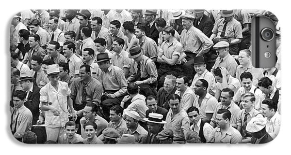 Baseball Fans In The Bleachers At Yankee Stadium. IPhone 6 Plus Case by Underwood Archives