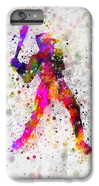 Baseball Player - Holding Baseball Bat IPhone 6 Plus Case by Aged Pixel