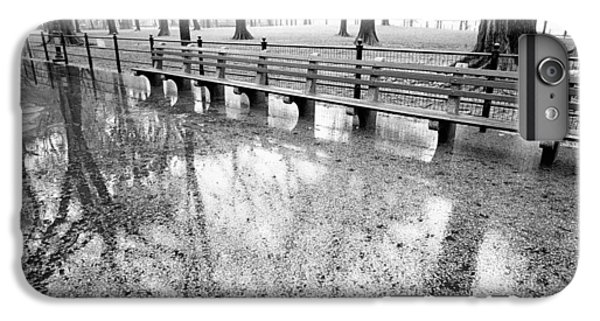IPhone 6 Plus Case featuring the photograph Benches Reflection Poets Walk by Dave Beckerman