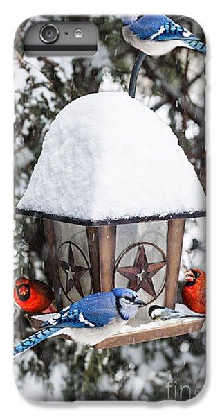 Birds On Bird Feeder In Winter IPhone 6 Plus Case by Elena Elisseeva