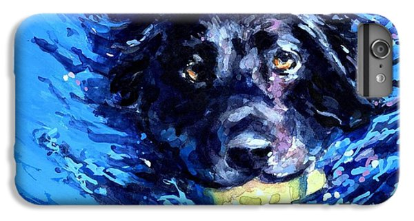Tennis iPhone 6 Plus Case - Black Lab  Blue Wake by Molly Poole