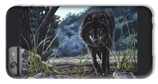 Black Wolf Hunting IPhone 6 Plus Case by Lucie Bilodeau