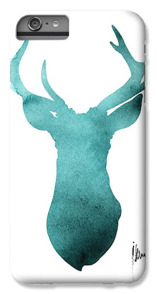 Deer iPhone 6 Plus Case - Blue Deer Antlers Watercolor Art Print Painting by Joanna Szmerdt