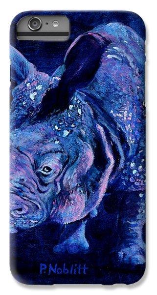 Rhinocerus iPhone 6 Plus Case - Indian Rhino - Blue by Paula Noblitt