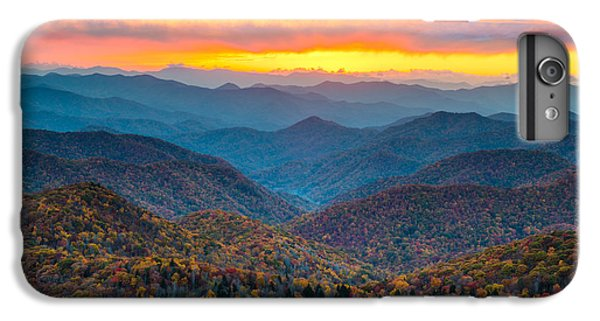 Mountain Sunset iPhone 6 Plus Case - Blue Ridge Parkway Fall Sunset Landscape - Autumn Glory by Dave Allen