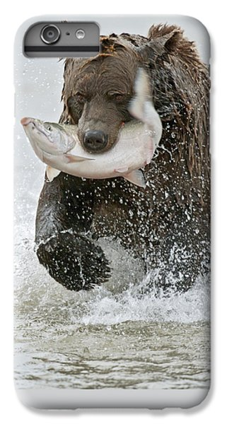 Salmon iPhone 6 Plus Case - Brown Bear With Salmon Catch by Gary Langley