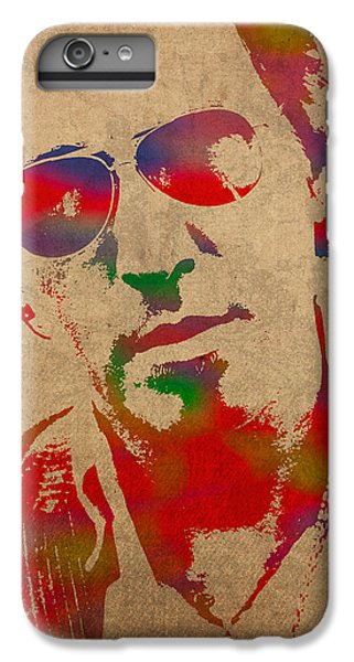 Musician iPhone 6 Plus Case - Bruce Springsteen Watercolor Portrait On Worn Distressed Canvas by Design Turnpike