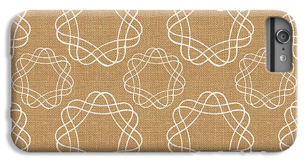 Burlap And White Geometric Flowers IPhone 6 Plus Case by Linda Woods