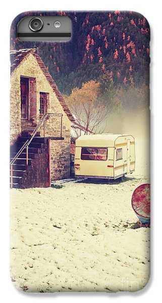 Caravan In The Snow With House And Wood IPhone 6 Plus Case by Silvia Ganora
