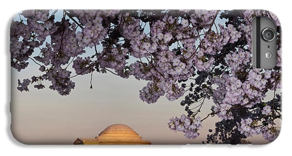 Jefferson Memorial iPhone 6 Plus Case - Cherry Blossom Tree With A Memorial by Panoramic Images