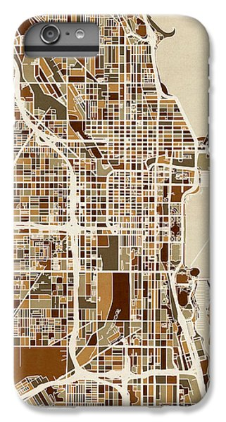 Sears Tower iPhone 6 Plus Case - Chicago City Street Map by Michael Tompsett