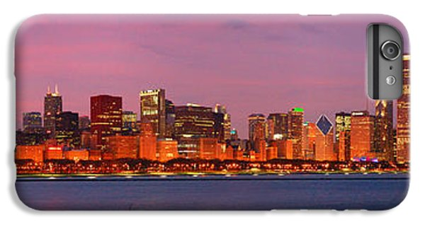 City Sunset iPhone 6 Plus Case - Chicago Skyline At Dusk 2008 Panorama by Jon Holiday