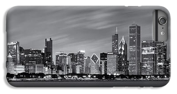 Chicago Skyline At Night Black And White Panoramic IPhone 6 Plus Case by Adam Romanowicz