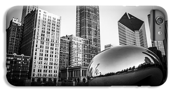 Skylines iPhone 6 Plus Case - Cloud Gate Bean Chicago Skyline In Black And White by Paul Velgos