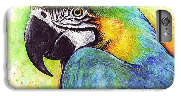 Macaw Watercolor IPhone 6 Plus Case by Olga Shvartsur