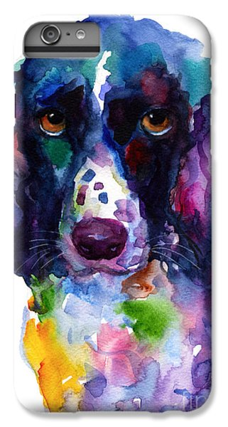 Colorful English Springer Setter Spaniel Dog Portrait Art IPhone 6 Plus Case by Svetlana Novikova