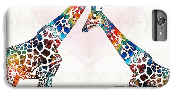 Colorful Giraffe Art - I've Got Your Back - By Sharon Cummings IPhone 6 Plus Case by Sharon Cummings