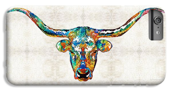 Colorful Longhorn Art By Sharon Cummings IPhone 6 Plus Case by Sharon Cummings
