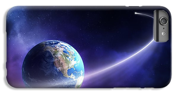 Planets iPhone 6 Plus Case - Comet Moving Past Planet Earth by Johan Swanepoel