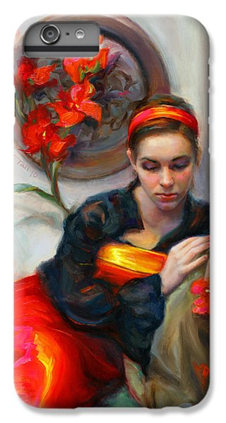 Common Threads - Divine Feminine In Silk Red Dress IPhone 6 Plus Case by Talya Johnson