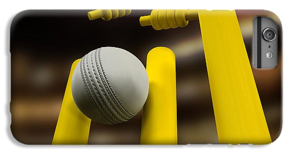 Cricket iPhone 6 Plus Case - Cricket Ball Hitting Wickets Night by Allan Swart